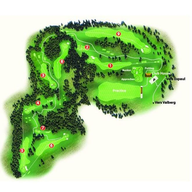 Valberg Golf Course, the course map